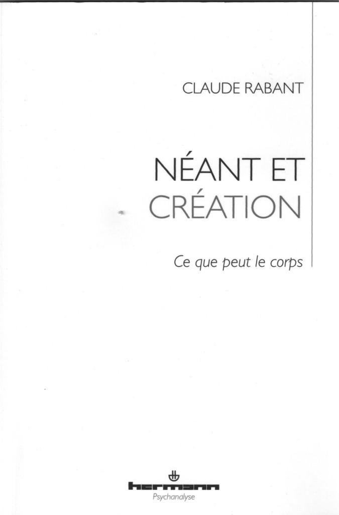 Néant et Création Couverture